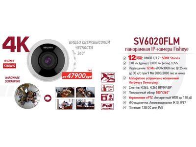 Рекомендуем! 12 Мп (4К) антивандальная Fisheye IP-камера SV6020FLM
